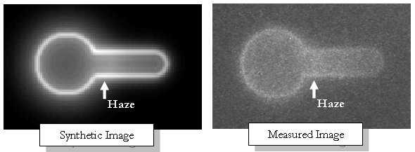 A comparison between the synthetic and measured images shows each has a haze at the base of the aspirated portion of the membrane.